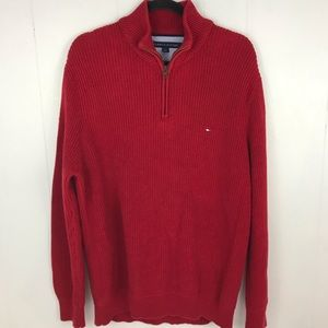 Tommy Hilfiger Red Sweater Zip Pullover Size Large